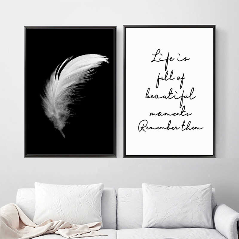 Posters And Prints Canvas Feather Quote Painting Wall Art Black White Pictures For Living Room Nordic Minimalist Decoration