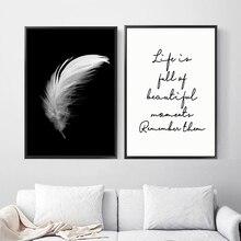 Pósteres e impresiones lienzo pluma cita pintura pared arte negro blanco imágenes para sala de estar decoración minimalista Nórdica