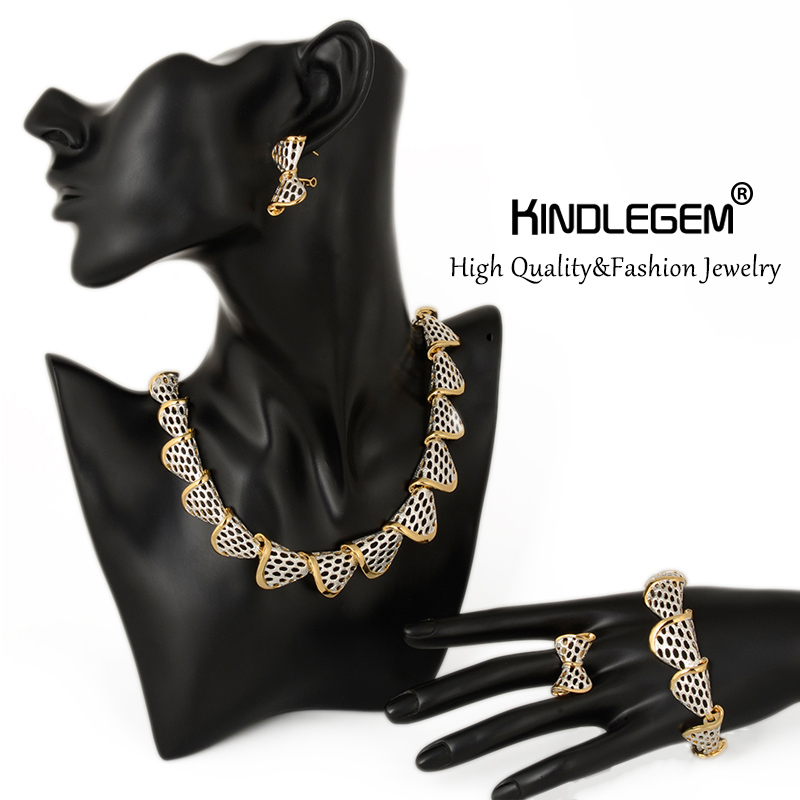 Kindlegem Statement Choker Necklace Earrings Bracelet Ring Set For Women Party High Quality Fashion Silver Gold Color Jewelry