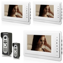 fashion 7 inch LCD Video Door Phone 700TVL Night Vision camera Doorbell Home Entry Intercom with 3 monitor