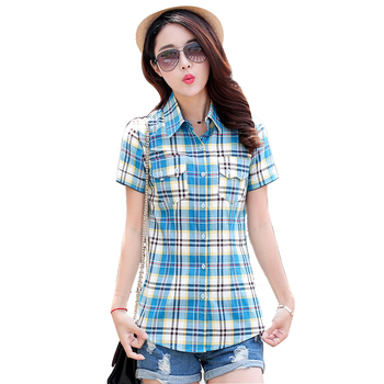 2018 New Fashion Summer Women Shirt Short Plaid Print Blouses Cotton Girl's College Style Dot Patchwork Female Tops Plus Size Women Shirts