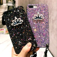 NTSPACE Luxury Crown Glitter Bling Shining Flash Powder Case For iPhone X 8 7 6 6S Plus Phone With Lanyard Protector Coque