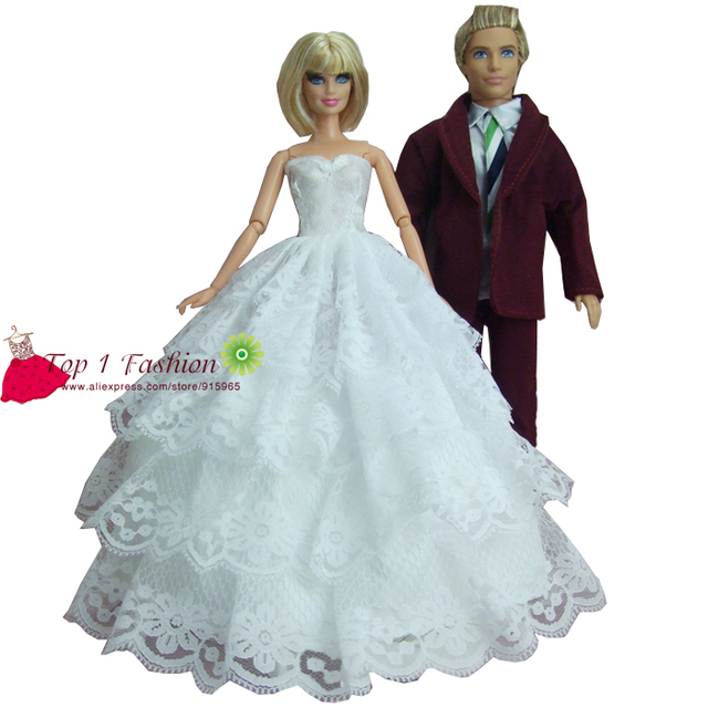 Free Shippping New arrival 2 sets = for barbie doll Bride White ...