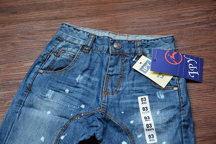 2015 vêtements de nouveaux enfants Jeans boy fille Denim sarouel bébé  garçons filles peinture trou Jeans enfants Big PP Harem Denim pantalons  dans Jeans de