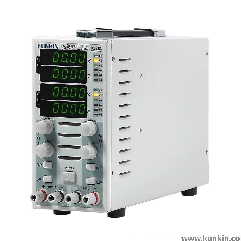 Arrivo rapido KL283 Carico DC elettronico regolabile a doppio canale 300 W 80 V 30 A LCD (80 V / 15 A / 150 W * 2)