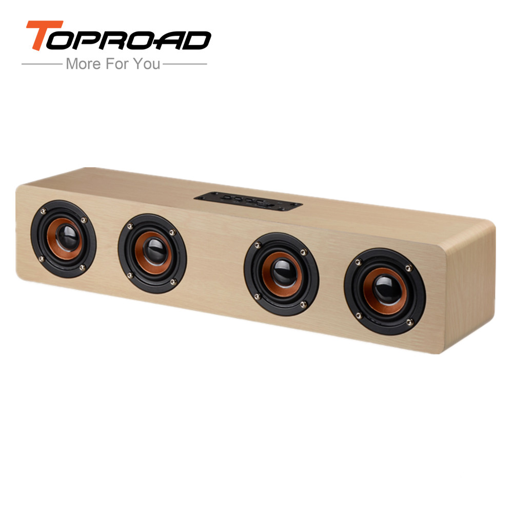 TOPROAD High Power Bluetooth Speaker Wood Subwoofer Stereo Wireless Speakers Support AUX Play TF Music Box