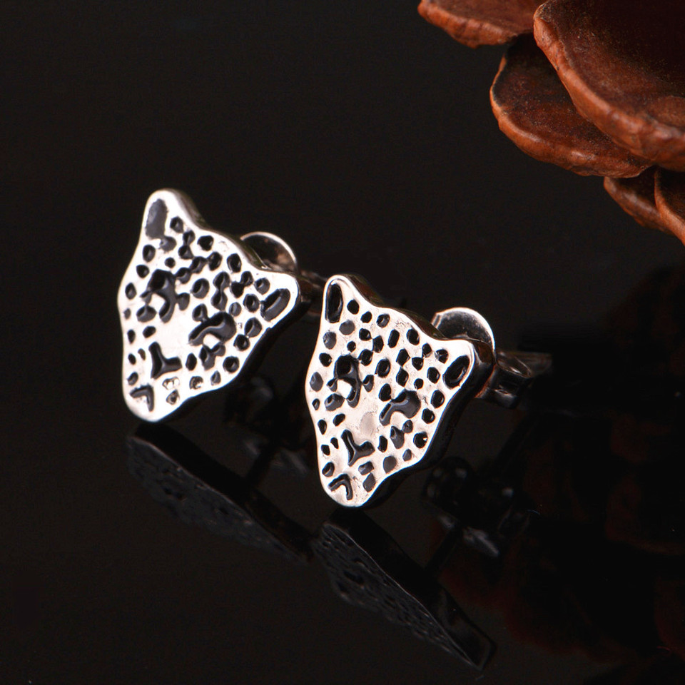 Rose Gold Leopard Triangle Open Africa Afrocentric Earrings