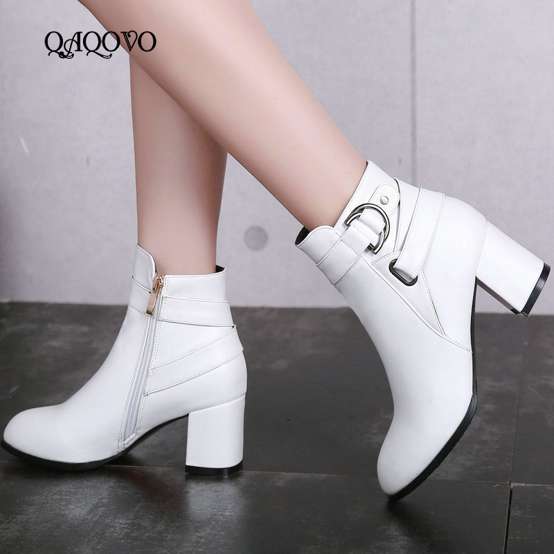 Autumn Women Boots Square High Heel Ankle Boots Fashion Pointed Toe Buckle Winter Zipper Boots Female Shoes Black White Beige-in Ankle Boots from Shoes