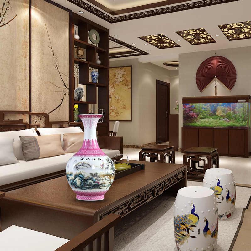 Jingdezhen Keramik Pink Vas Hiasan Perabot Rumah Tangga Ruang Tamu Merangkai Bunga Vas