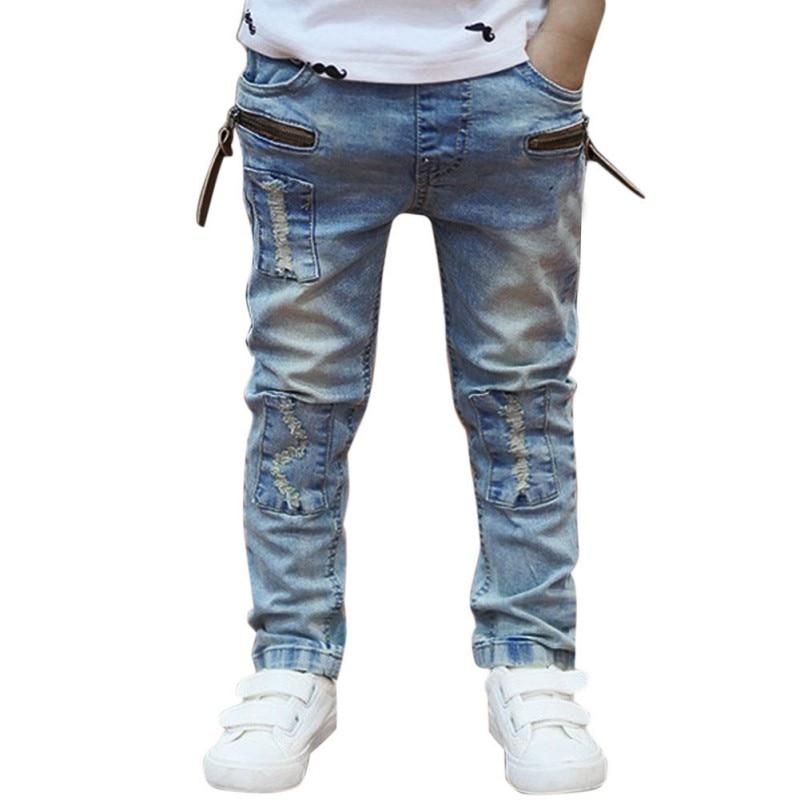 Autumn Children Boy Soft Casual Toddler Jeans Denim Pants Thin Trousers Solid Pencil Pocket Pant N