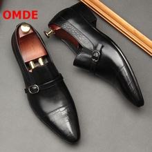 OMDE Pointed Toe Men Leather Shoes British Style Fashion Men's Loafers Handmade Buckle Strap Slip On Wedding Shoes Dress Shoes
