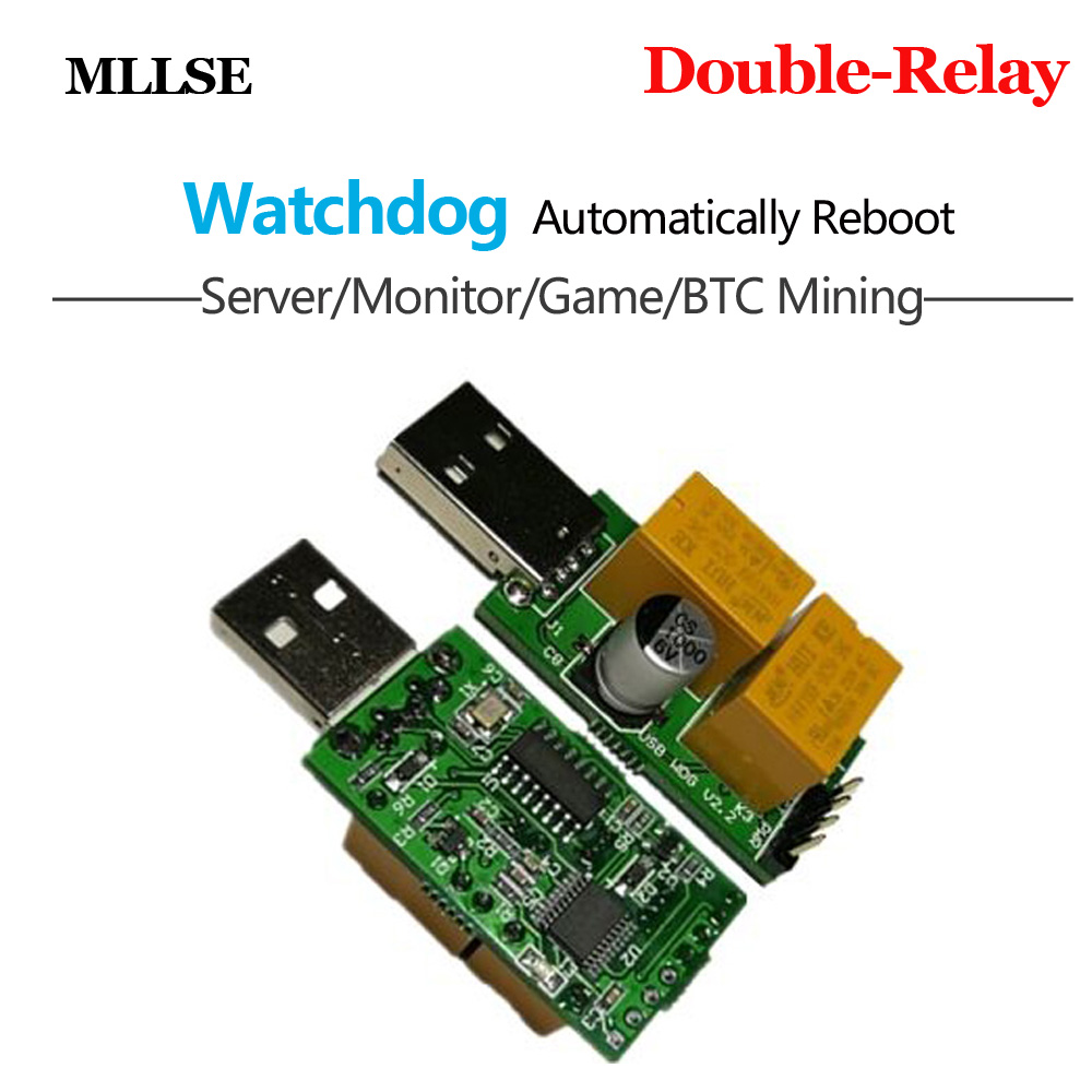 Newest USB WatchDog Card Double Relay 24H Blue Screen Unattended Automatic Restart For PC Computer Gaming Mining Miner(China)