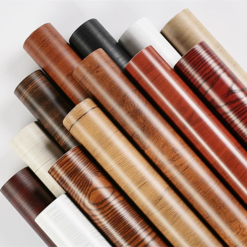 Купить с кэшбэком PVC Waterproof Self Adhesive Wallpaper Roll Furniture Cabinets Vinyl Decorative Film Wood Grain Stickers For Diy Home Decor