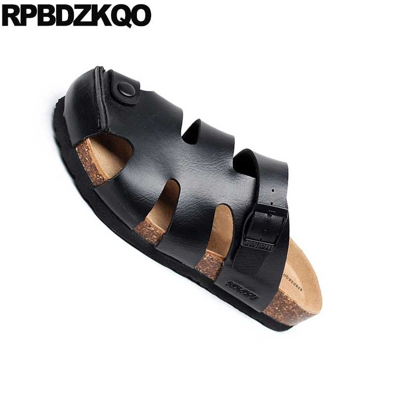 aaca3d18250 Slippers Size 45 Shoes Closed Toe Beach Black Strap Cork Slides Large  Platform Men Sandals Leather Summer Fashion Water Mules