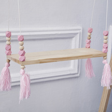 Ins Wooden Beads Hanging Racks Partition Children's Room Children's Clothing Store Decorative Frame Style roman household word shelf racks ledge 90 15 hanging decorative frame bulkhead bracket bedside bookshelf page 4