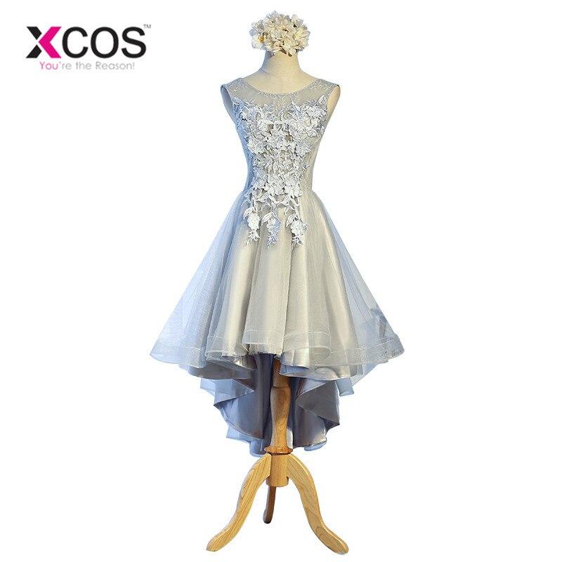 XCOS Grey   Bridesmaid     Dresses   Short Sleeveless Lace Appliques Cheap Formal Prom Party   Dresses   Vestidos De Noiva Robe De Mariage