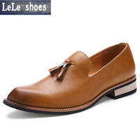 LELE Men Shoes Cowhide Leather Moccasins Men Loafers Casual Pointed Toe Shoes Men Flats Luxury Brown