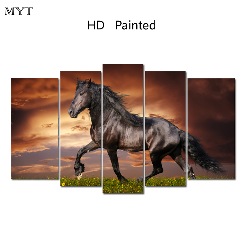 MYT High Qualtiy Running House Painting Modern Large Landscape Artwork Colorful Clouds HD Print for wall art picture Home Decor