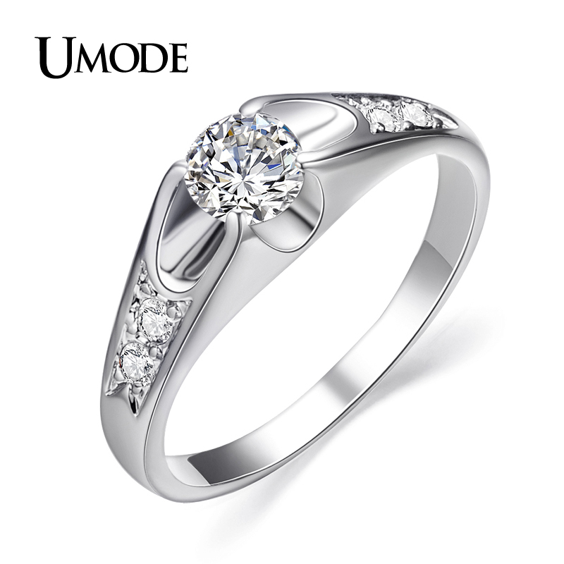 UMODE Fashion White Gold Color Mounting 0.5 ct CZ Cubic Zirc