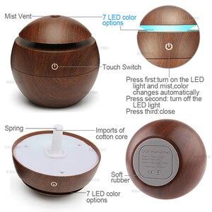 Image 4 - 7 cambio de Color LED luz nocturna USB con Aroma difusor esencial Humidificador de niebla fría purificador de aire lámpara para oficina, casa