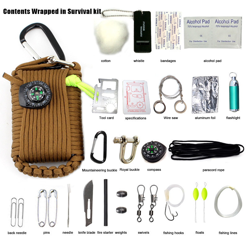 23 in 1 outdoor survival kit camping tools outdoor camping goods for survival tool bag umbrella rope braided fishing supplies