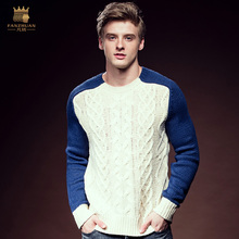 Free Shipping New Male 2016 men's casual fashion winter man O neck Loose color mosaic turtleneck knitted sweater thread 615133