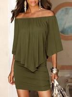 Summer Army Green Slash Neck Women Mini Dress Autumn Style Off Shoulder Sexy Dresses Vestidos Beach