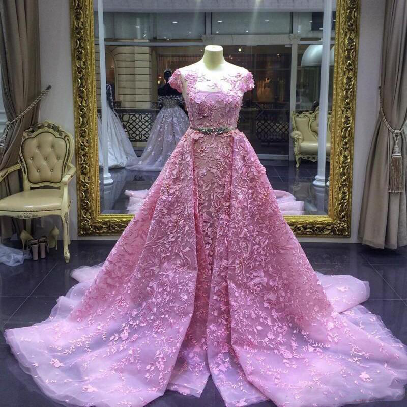 Prom Dress With Detachable Train: Luxury Mermaid Prom Gowns Pink Detachable Train Lace