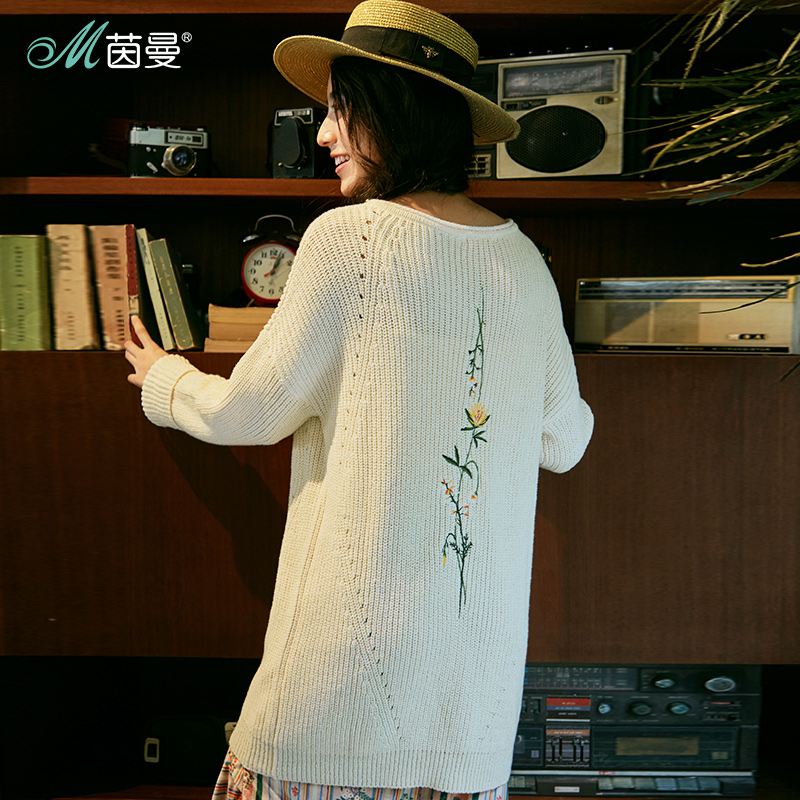 INMAN Women Spring Autumn Clothes Round Neck Drop Shoulder Embroidered Pullover Women