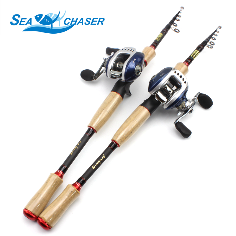 Telescopic carbon Casting Rod and Casting Reels wooden handle lure rod 2 1m 2 4m 2
