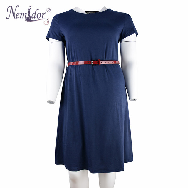 Women Summer Vintage Short Sleeve 50s Party Belted A-line Dress Stretchy Midi Plus Size 7XL 8XL With Pockets 3