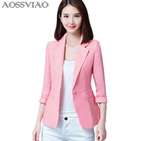 AOSSVIAO Blazers 2016 New Fashion Single Button Blazer Women Suit Jacket Green White Black Pink Blue