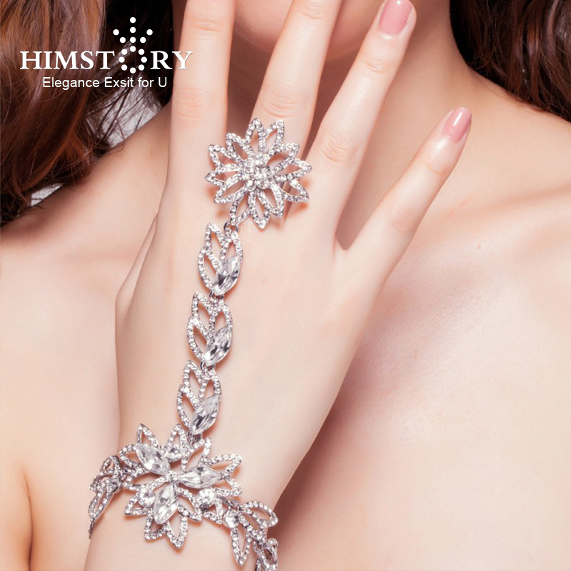 Luxury Rhinestone Flower Bridal Wrap Bracelets Wedding Jewellery Fashion Bling Marriage Accessories