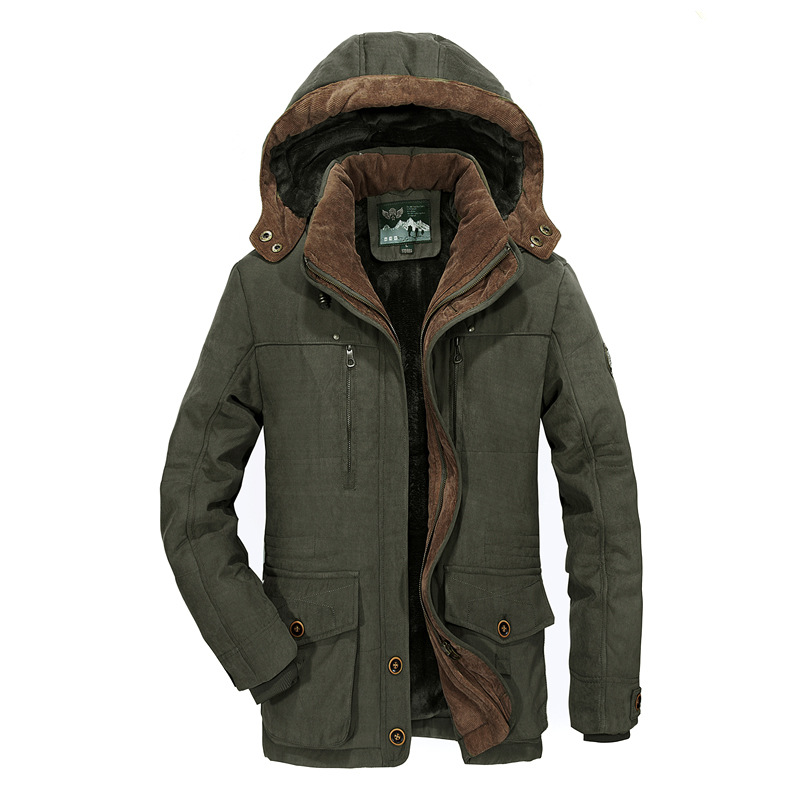 2019 Winter Mens Hooded Jacket Business Casual long cotton thick warm coat male Solid color zipper Fleece outwear plus size 6XL - 5