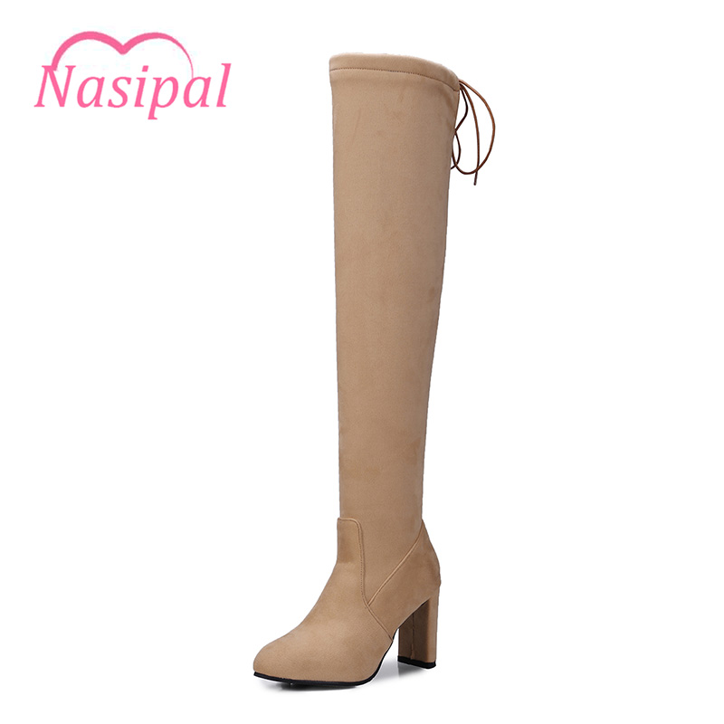Nasipal New Women Boots Flock Sexy Fashion Over The Knee Boots Slim Thin Square Heel Booties Woman Shoes Plush Size 32-48 C136