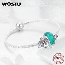 Wostu 925 Sterling Zilver Groen Murano Kralen Roze Bloem Charme Armbanden & Armband Voor Vrouwen Elegante Zilveren Sieraden Gift FIB822