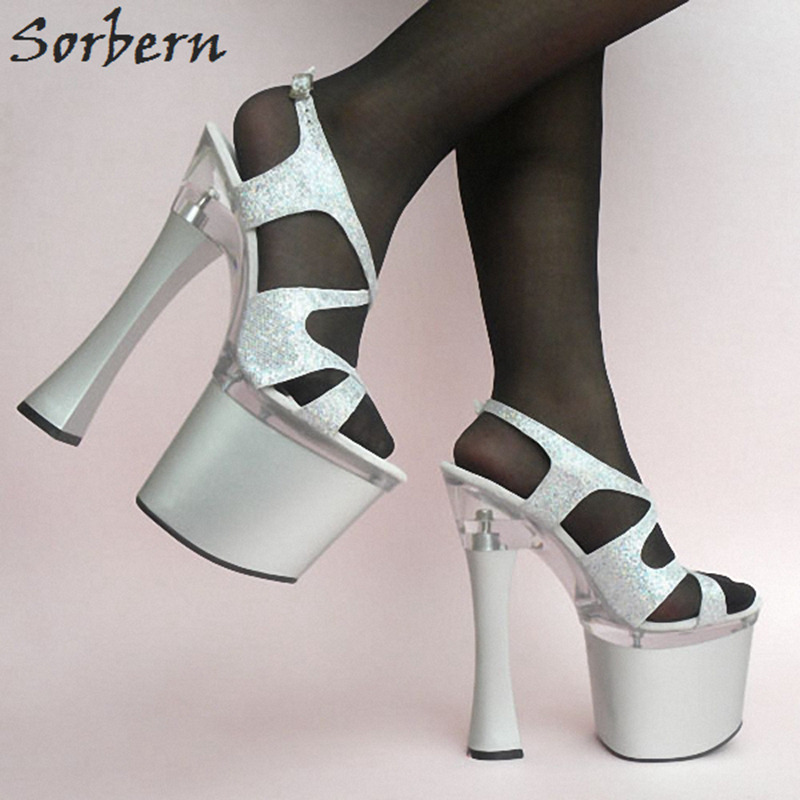 Sorbern 18CM High Women Sandals Buckle Strap 8CM Platform Real Image Ladies Party Sandals Shoes Unisex Dance Shoes Shoes S ...