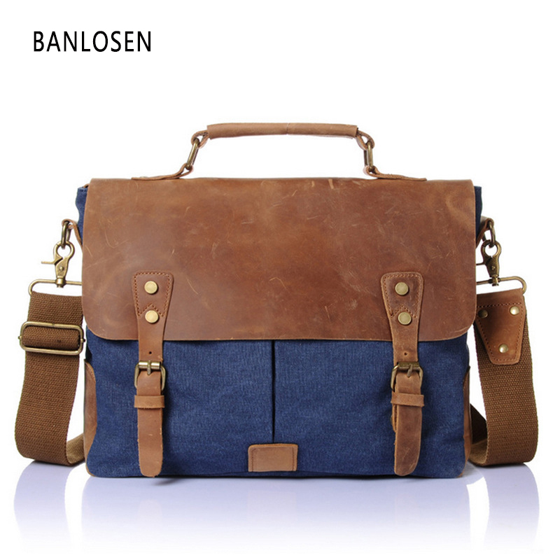Vintage Messenger Bags Military Canvas + Crazy Horse Leather Shoulder Bags Men Crossbody Bag Men Leather Handbag Tote Briefcase canvas leather crossbody bag men briefcase military army vintage messenger bags shoulder bag casual travel bags