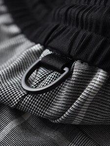 Image 5 - Minglu xadrez calças homem cintura elástica de luxo fino ajuste tornozelo comprimento calças plus size 4xl fios tingidos cheques moda masculina calças casuais