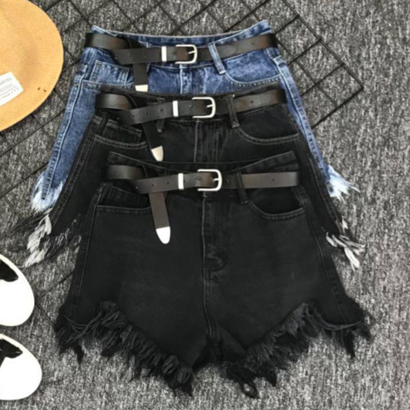 2019 Summer Fashion Irregular Denim Shorts Women High Waist Tassel Black Wide Leg Jeans Shorts