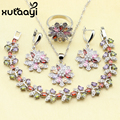 4PCS 925 Silver Jewelry Set Flower Colorful imitation Topaz Earrings Ring Necklace Pendant Bracelet Christmas Bracelet Gift
