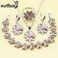4 UNIDS 925 Joyas de Plata de la Flor de imitación Colorida Topaz Anillo Pendientes Collar Colgante Brazalete Pulsera de Regalo de Navidad