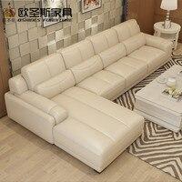Nuevo Modelo en forma de L moderno Italia cuero genuino sección última esquina muebles de sala sofá set 120