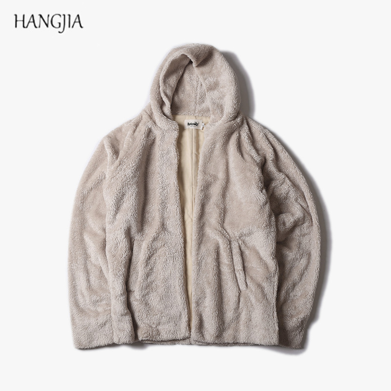 Mens Hip Hop Fleece Sherpa Cardigan Hoody Hoodies Male High Street Side Split Sweatshirts Urban Clothing Justin Biebers Tyga