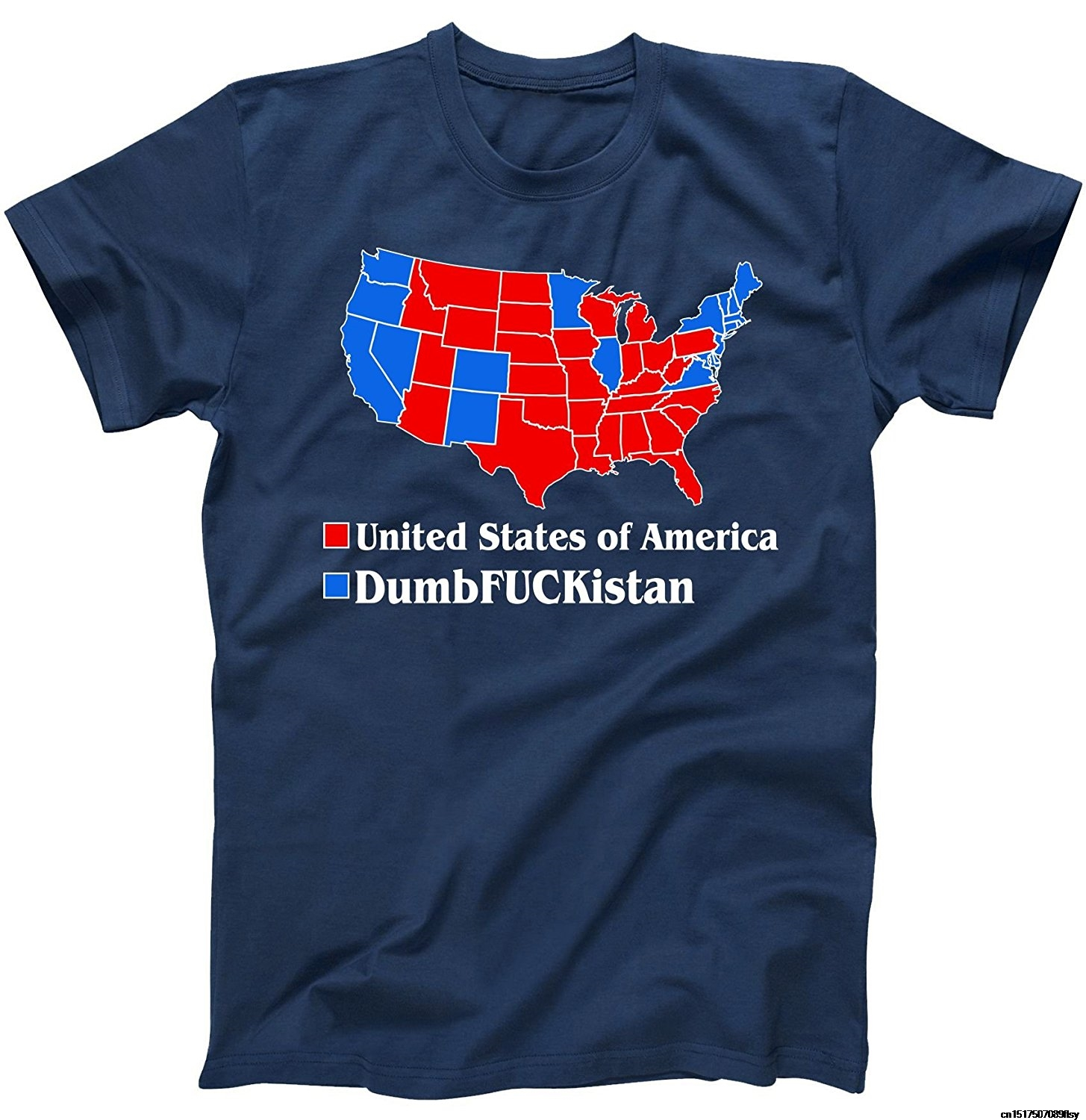 Short Sleeves Cotton Free Shipping Republican Version United States Of America Vs. Dumbfuckistan Election Map T Shirt