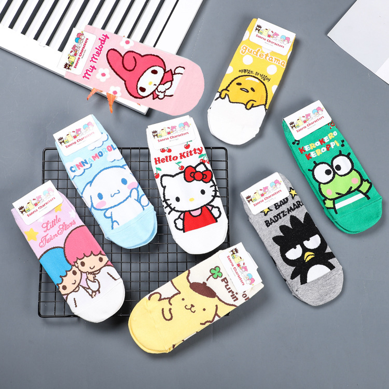 Bad Badtz Maru Gudetama Cartoon Socks Hello Kitty Rilakkuma Snufkin Little My Cute Funny Women Spring Summer Cotton Short Sock Comfortable Feel Underwear & Sleepwears