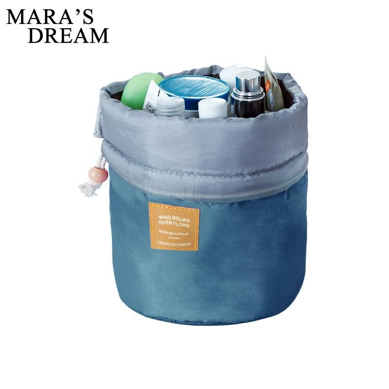 цена Maras Dream Barrel Shaped Travel Cosmetic Bag Nylon High Capacity Drawstring Elegant Drum Wash Bags Makeup Organizer Storage Bag