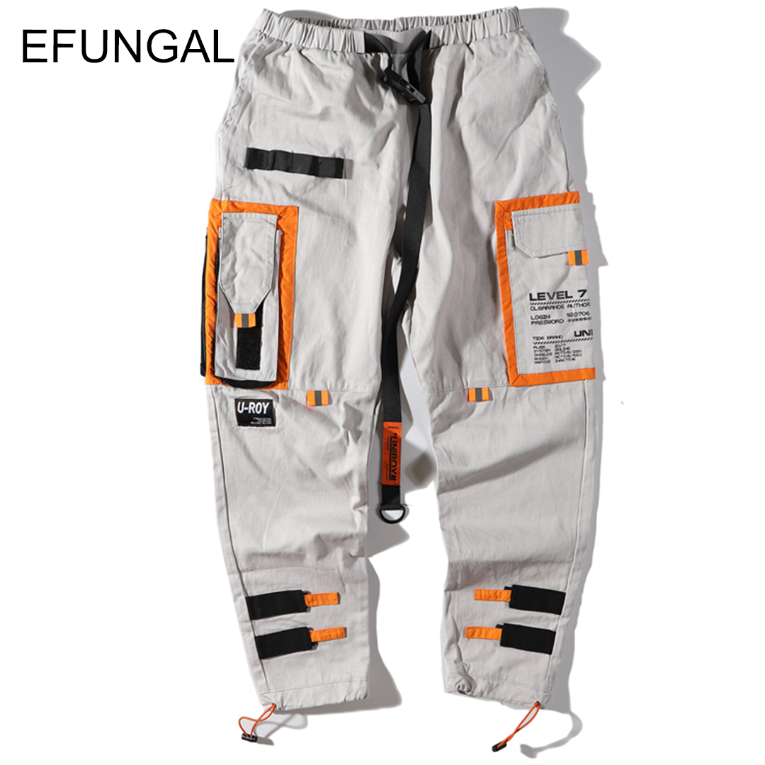 EFUNGAL Track Pants Man Color Block Pockets 2019 Spring Hip Hop Fashion Harem Streetwear Fashion Jogger Casual Trousers FD126(China)