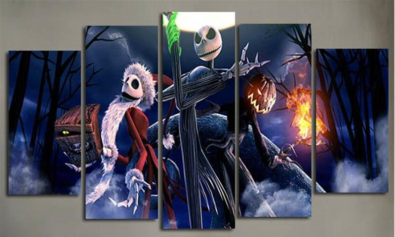 5Piece Canvas Pictures Prints Calligraphy Painting Movie Posters Nightmare  Before Christmas Wall Art For Living Room Home Decor In Painting U0026  Calligraphy ...