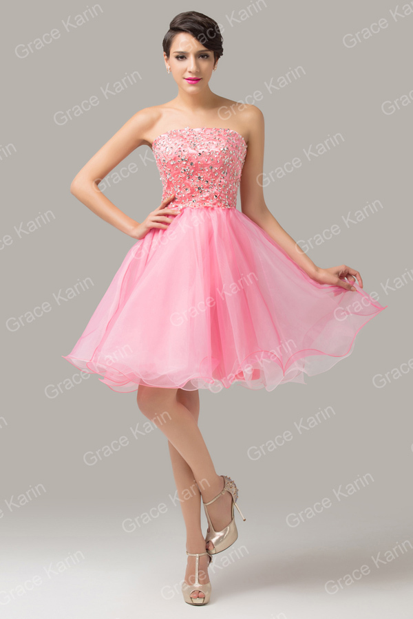 Sweetheart Grace Karin Sequin Strapless Pink Organza Satin Knee ...